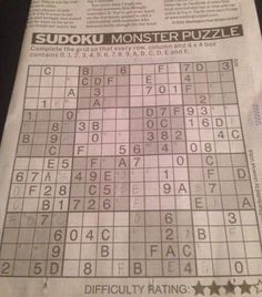 It's just an image of Challenger Monster Sudoku Printable