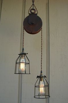 Industrial lights using old pulleys