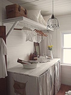 plain painted wood counter with curtains