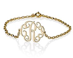 06 inch Monogram Bracelet  Side attached on 18k by BestPersJewelry, $35.95