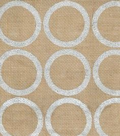 Utility Fabric- Burlap Large. Circle Foil Silver, , hi-res