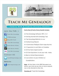 Free Family History Bundle Finally Released! (Software, Pedigree Chart, Family Group Record, Getting Started, Websites, Free Printables and Much More) ~ Teach Me Genealogy