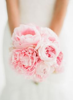 Pink peony and garden rose bridal bouquet /// Photo by Taylor Lord via Project Wedding