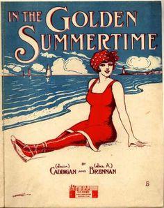 In the Golden Summertime vintage sheet music - beach art graphic, vintage sheet music, sea, vintage sheets, bathing beauties, golden summertim, beach, summertime, summertim vintag