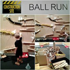 Ball run wall: large scale pegboard walls with tubes, ramps, pipes, funnels, pegs, rails and recyclables to construct elaborate ball runs and experiment! via Racheous - Lovable Learning