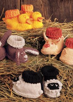 Baby Patterns from Knitting Daily: 9 Free Baby Knitting Patterns, including these cute animal baby booties.