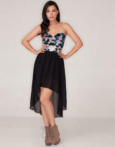 Motel Chika Strapless Dip Hem Dress in Floral Navy Rose Print