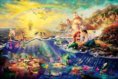 Thomas Kinkade finally made a little mermaid painting!! I can't wait to see a big one on display at Art of Disney and look for the hidden stuff!!