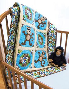Tumbling Monkeys, a Heidi Pridemore design featured in the July/August issue of Quiltmaker.