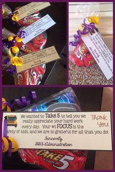 Thank you gift for bus drivers! Creative- using Take 5 candy bars and Focus gum!