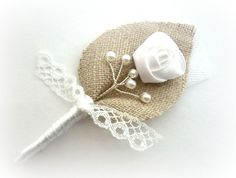 CHRISTOPHER White Twigs for your Honey Lace and Burlap Wedding Men, Groom's Boutonniere Pin Line, White Country Weddings, Burlap Shabby Chic on Etsy, $10.00