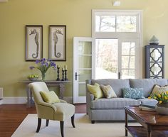 Lime Green and Purple Living Room