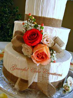 Elegant Rustic Wedding Cake   Flickr - Photo Sharing