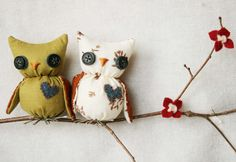 Owls on a Branch - Wall Hanging, $25.00 by Littlebrownbyrd on Etsy -- Erin, this is the cutest store!!