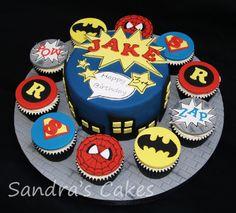 Superhero cake & cupcakes