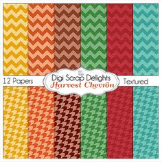 Autumn Chevron Digital Papers for Digital by DigiScrapDelights,  #autumn #fall  #owls #orange #teal #red #brown