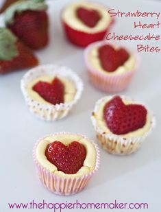 strawberry heart cheesecake bites - these look so cute and so good from the Happier Homemaker #yearofcelebrations
