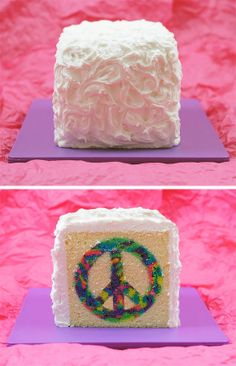DIY Peace Cake. Oh Lordy, I might need to make this for a certain little girl's 10th birthday :)