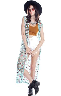 Gypsy Stone Crochet Duster - Teal - Saltwater Gypsy #saltwatergypsy