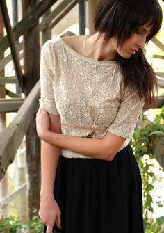 Scoop back lace blouse + pencil skirt