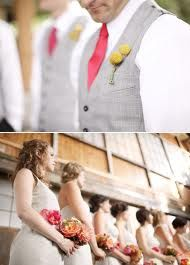 boutonnier, yellow flowers, idea, vest light, coral tie, colors, big, light grey, yellow tie