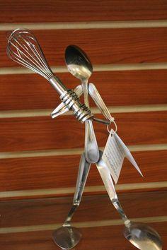 Baseball recycled silverware ART