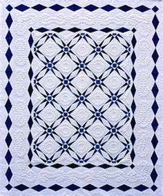 blue & white Darting Minnows quilt. Like the double border.