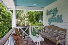 custom homes, southern porches, ce turquois, patio, hous, back porches, porch railings, front porches, porch blue ceiling