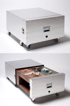 Is it a metal crate or functional coffee table? Beautiful done Hidden Furniture
