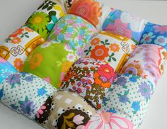 Floral Patchwork Vintage Fabric Quilted Cushion / Chair Pad no.10