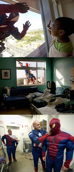 Some window washers at childrens hospitals surprise the kids by dressing up like superheroes.