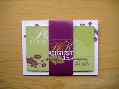 MaeMae Paperie: Purple and Green Invite.