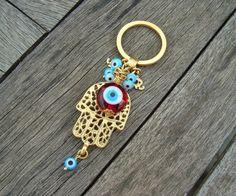 Multicolor Evil Eye Beaded Hamsa Keychain