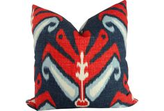 color palettes, custom sham, accent pillows, red white blue, decorative pillows, blue ikat, pillow covers, throw pillows, john robshaw