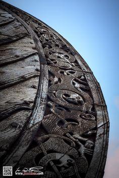 Viking ship wood carving
