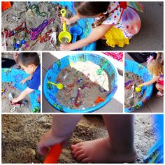 treasure dig-kiddie pool, necklaces, rings, pirate coins, bugs, skeletons, sand (or something less messy), shovels