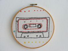 Cassette tape in a hoop.
