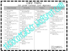 Classroom Freebies: Common Core and CAFE