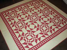 THE MOST FABULOUS - Old - ANTIQUE Vintage RED & CREAM Handmade QUILT - MUST SEE!