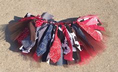 Navy and Red Cowgirl costume cowgirl skirt red bandana by LilNicks, $28.49