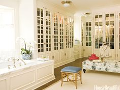 designer James Radin from House Beautiful. Huge bathroom with integrated closet.
