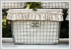 Kaspar Wire Works' gym baskets - good idea for organizing.  Liner made from ikea linen drapes...via Urban Farmgirl. LOVE