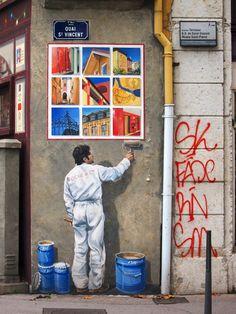 Real / Unreal?, Street scene in Lyon   France (by Ignacio Lizarraga)