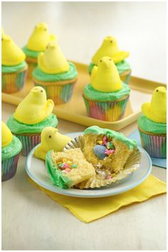 Easter surprises have never been so sweet! Bake up these festive Easter cupcakes, fill with colorful sprinkles and top with a yellow PEEPS® chick!