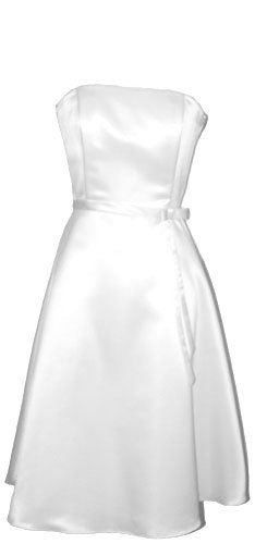 50's Strapless Satin Formal Bridesmaid Prom Dress Holiday Gown, Large, White $52.99