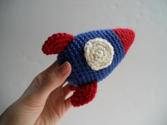Rocket Ship - Blue and Red. $22.00, via Etsy.