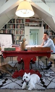 I want to have a dog in the office too!  Designer, Peter Dunham office.