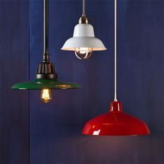 These flared, domed, and bowl-shaped lights will bring vintage style to any space. Green, about $410 from rejuvenation.com; white, about $150 from shadesoflight.com; red, about $75 from wayfair.com | Photo: Ted Morrison | thisoldhouse.com lamp inspir, light fixtures, dome lights kitchen, pendant lights, factorystyl pendant