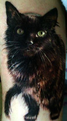 Photorealistic black cat tattoo Victoria Bella-Morte #InkedMagazine #inked #InkedMag #cat #blackcat #tattoo #portrait #pet