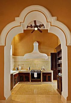 kitchens, beauti archway, architectur accent, floors, casa, arches, dream hous, haciendas, kitchen walls